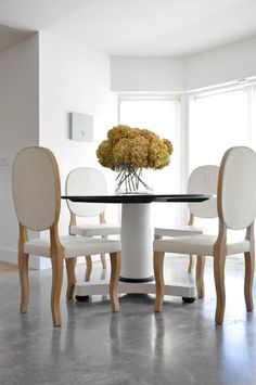 White Dining Room w/ White Chairs / Clements Design
