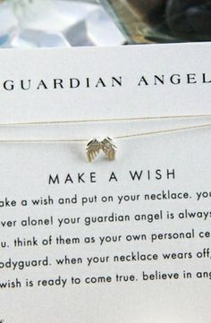 Guardian Angel Necklace, Your Guardian Angel, Angel Wing Necklace, Silver Necklaces, Jewelry Necklaces, Make A Wish, Bling, Cream, Accessories