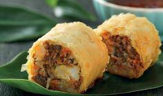 Frasig Thairulle med röd curry och grönsaker
