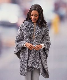 Whether going on a day trip, extended vacation or a quick trip to the market, you'll love having this ruana for easy stylish warmth. The cozy Fur collar keeps the chill away from your neck while the wide width and comfortable length give it ideal wearability. It's the perfect gift that needs no exact fit.