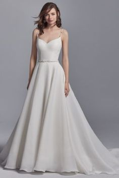 Kyle by Sottero & Midgley Wedding Dresses. Beautiful organza bridal gown with full skirt and beaded spaghetti straps & belt. Collection starts at $1,200 & up. Make an appointment at Precious Memories in Boston, Ma. 781-397-1336. Sottero And Midgley Wedding Dresses, Wedding Dress Organza, Boho Wedding Dress, Designer Wedding Dresses, Bridal Dresses, Wedding Gowns, Sottero Midgley, Lace Wedding, Elegant Wedding