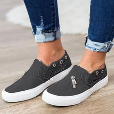 41a97b8c764 Casual Solid Color Zipper Decoration Canvas Loafers
