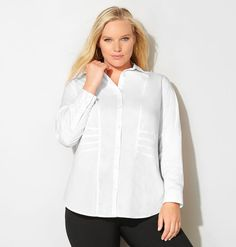 Add a classic boyfriend style button down shirt like our new plus size Seamed Waist Shirt available in sizes 14-32 online at avenue.com. Avenue Store