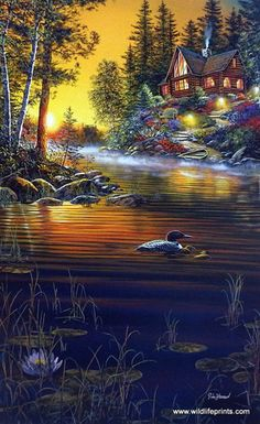 A loon family swims past a log cabin surrounded by a beautiful flower garden and a rocky path that leads down to an old fishing boat. Garden Hideaway is available in two signature options as different