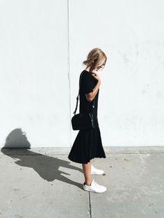 YMC dress, A.P.C. halfmoon bag, Common Projects sneakers , Celine sunnies. Via Mija
