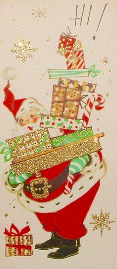 Glitter Santa. Retro Christmas Card. Vintage Christmas Card.