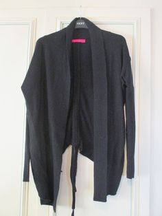 Black Wool Waterfall Cardigan