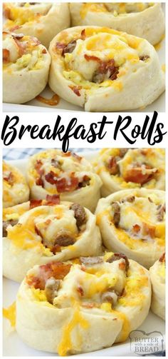 Breakfast Rolls filled with scrambled eggs, bacon, sausage & cheese then rolled in homemade dough and baked to perfection. These rolls are perfect for breakfast, brunch or dinner! Easy #breakfast #recipe from Butter With A Side of Bread