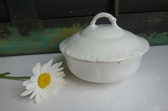 Antique Ironstone Dish Covered with Lid Soap by ironstonevintage
