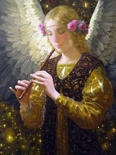 """ANGEL PLAYING A FLUTE"" Artist: Victor Nizovtsev"