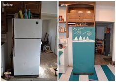 colored chalkboard painted fridge