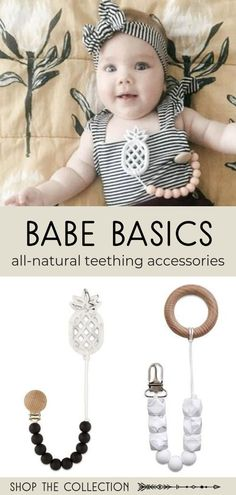 Shop Babe Basics collection of all natural teething accessories made from all natural beechwood, BPA free silicone, and non-toxic materials. They are safe for your baby and adorable too! #teethingaccesories #teethers #teething