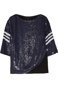 Tibi Navy sequined silk Slips on silk; Sequin Shirt, Sequin Top, Outfits 2016, Fashion Outfits, Side Slit Shirt, Navy Blue Shirts, Silk Slip, Colourful Outfits, Colorful