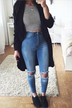 Cute Outfits with Jeans and Crop tops