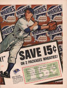 1952 Sports Hero baseballs Bob Feller pitcher by Vividiom on Etsy 327affb0c2bd
