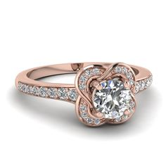 round cut diamond engagement ring in 14K rose gold FD67927ROR NL RG