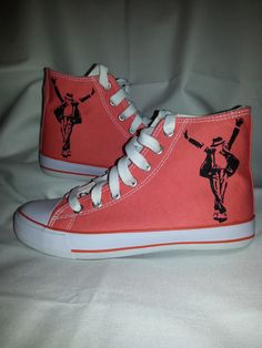 Hand painted shoes with Michael Jackson pattern.
