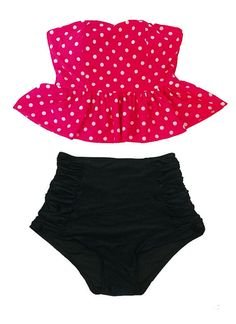 Minnie Hot Pink Polka dot Strapless Flounce Top and by venderstore, $39.99