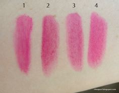 Swatches of 1. Urban Decay Vice Lipstick in Sheer Anarchy; 2. Revlon Balm Stain in Lovesick; 3. Revlon Balm Stain in Smitten; and 4. Wet N Wild Silk Finish Lipstick in Nouveau Pink.