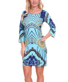 7dcaaaeefbe Look at this White Mark Navy Blue   Aquamarine Radiant Scoop Neck Dress -  Women on today!