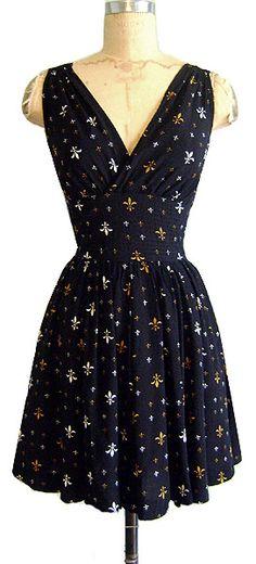 New 'Trashy Diva' Black Fleur de Lys Print Rayon Sleeveless Mini Dress Ruched Waist 'Doris Mini Dress' V-Neck V-Back Pockets $123USD