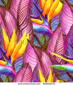 Tropical summer seamless pattern with banana leaves and flowers of strelitzia. Watercolor illustration with a rainforest