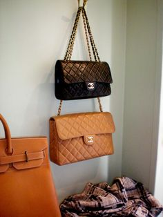 black and pumpkin orange.  Two glorious works of art, purse fantasy fulfillment all in one vintage boutique.