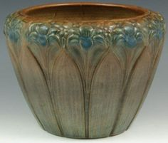 Brush McCoy Pottery; Jardiniere, Amaryllis Motif, Matte Brown & Blue, 9 inch.