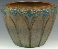 Brush McCoy Pottery; Jardiniere, Amaryllis Motif, Matte Brown & Blue, 9 inch.