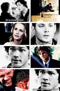 [gifset] Quote from 2x04 Children Shouldn't Play With Dead Things. 2x01In My Tim Of Dying, 1x09 Home , 1x02 Wendigo, 9x23 Do You Believe in Miracles #SPN #Dean #Sam