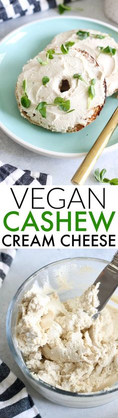 The creamiest, tangiest, most delicious Easy Vegan Cashew Cream Cheese! Made with just 4 ingredients. You'll never look at cashews the same again!