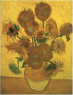 Vincent van Gogh Still Life: Vase with Fifteen Sunflowers. Oil on canvas. Arles: January, 1889.  Amsterdam: Van Gogh Museum.