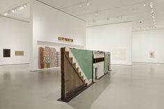 "Bingo  Gordon Matta-Clark (American, 1943–1978)  1974. Building fragments: painted wood, metal, plaster, and glass, three sections, Overall 69"" x 25' 7"" x 10"" (175.3 x 779.8 x 25.4 cm)"