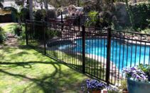 """pool fence regulations   The fence must be at least 48"""" tall The mid-rail must be at least 45"""" above the bottom rail The spacing between pickets must be less than 4"""" The spacing between the bottom rail and the ground must be less than 4"""" The gates must be self-closing and self latching The gate needs to open out and away from the pool area The opening mechanism must be at least 54"""" above ground."""