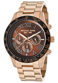 Men;s Chronograph Brown Dial Rose Gold Tone Ion Plated SS  Michael Kors Watch