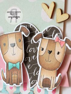 Card by Amy Sheffer. Reverse Confetti stamp sets: Puppy Love and Heart to Heart. Confetti Cuts: Puppy Love, Heart to Heart, and Double Edge Scallop Border. Valentine's card. Anniversary card.