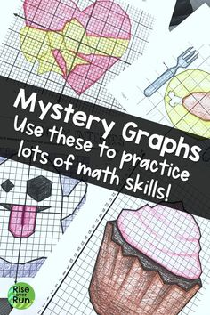 Coordinate Graphing Pictures for Middle and High School Math! Practice several math skills with these fun mystery graphs. Great for early finishers, sub plans, or extra practice. Fun Math Activities, Math Resources, Math Games, Math Skills, Math Lessons, 9th Grade Math, Math Groups, Early Finishers, Common Core Math