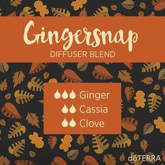 Ginger snap diffuser blend -  Ginger, Cassia (or Cinnamon Bark) & Clove  #doterrafall
