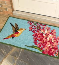 Hummingbird And Lilac Indoor Outdoor Accent Rug Small Rugs Made Of 100 Polypropylene This Throw Is Durable Enough For Use Indoors Out