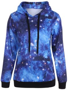 Plus Size Galaxy Print Kangaroo Pocket Hoodie