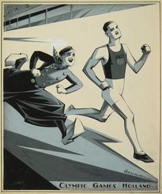 """Charles Verschuuren 1928 """"Olympic Games Holland"""" / magazine cover for the Brooklyn Daily Eagle Sunday Magazine 22 July 1928"""