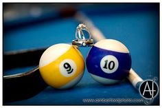 Wedding rings with pool balls showing wedding date : Amber Ford Photography