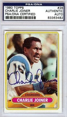 Charlie Joiner Autographed/Hand Signed 1980 Topps Card PSA/DNA #83363482 by Hall of Fame Memorabilia. $46.95. This is a 1980 Topps Card that has been hand signed by Charlie Joiner. It has been authenticated by PSA/DNA and comes encapsulated in their tamper-proof holder.