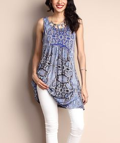 Look at this Blue Paisley Empire-Waist Sleeveless Tunic Dress on #zulily today!