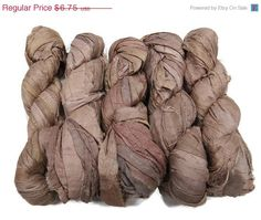 SALE 50g Recycled Sari Silk Ribbon, Nude by SilkDivine on Etsy