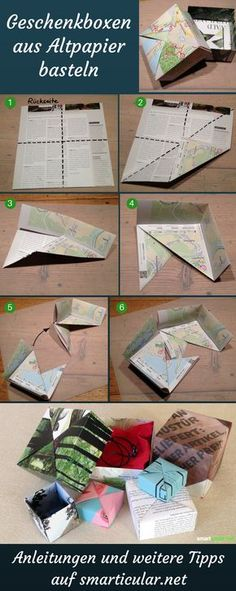 Give without packaging waste: folding box made of waste paper- Schenken ohne Verpackungsmüll: Faltschachtel aus Altpapier You can easily fold creative gift packaging and paper storage boxes yourself. Paper Gift Box, Paper Gifts, Diy Paper, Paper Crafting, Gift Boxes, Paper Boxes, Kraft Paper, Creative Gift Packaging, Creative Gifts
