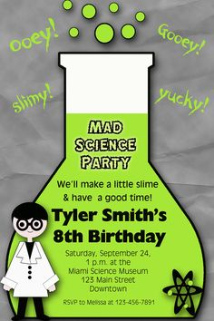 Science birthday paty invitation - mad science party museum birthday party - you print or I print. $10.00, via Etsy.