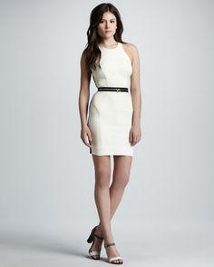 Milly Reflective Hooded Anorak & Zip-Waist Bicolor Racerback Dress - Neiman Marcus