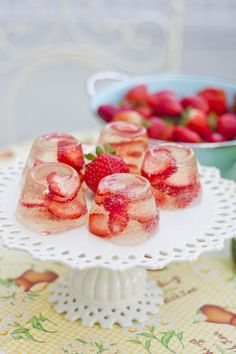 Champagne Strawberry Jello. It will be the biggest hit and talk about dessert at a party. You can't get your fingers off of these beauties.
