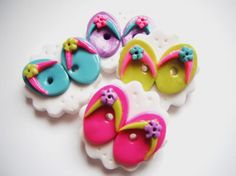 Button Flip Flops polymer clay buttons ( 4 ) via Etsy